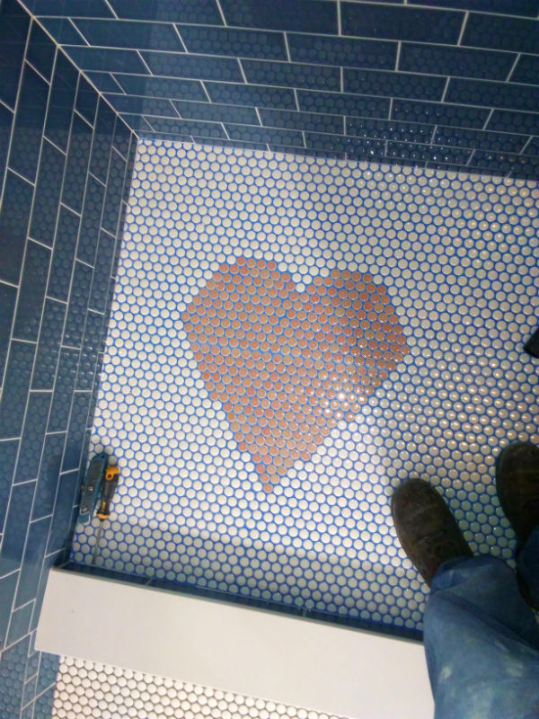 Bay View Condo Shower Pan Penny Tile Heart Grout360 Blue Blaze