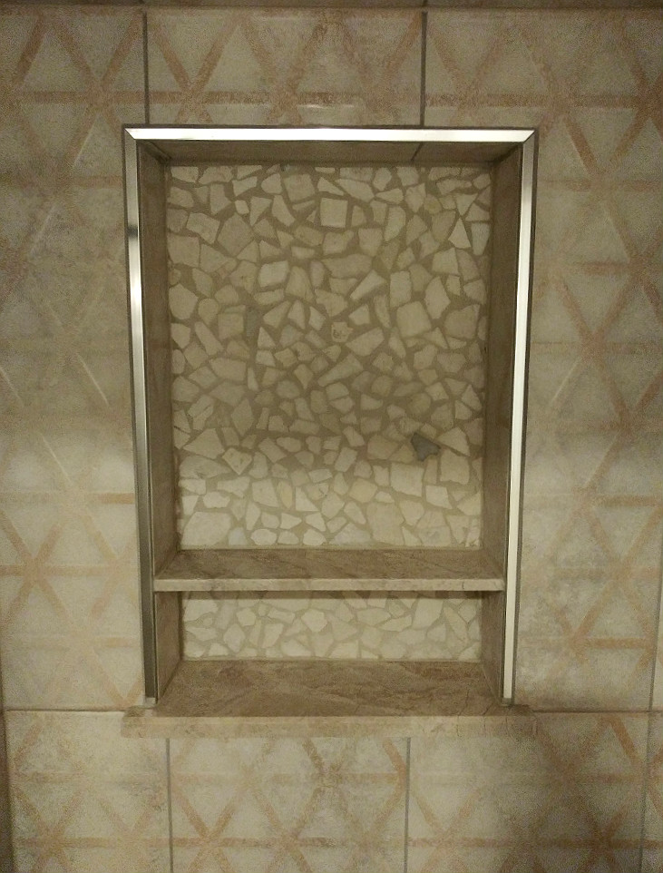 Delafield Lower Shower Niche Rock River Stone and Saloni