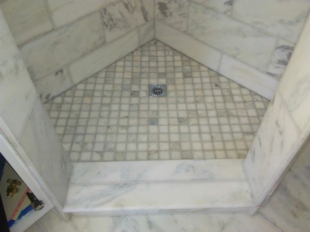 Hartland Master Bath Shower Pan Curb Carrara Marble