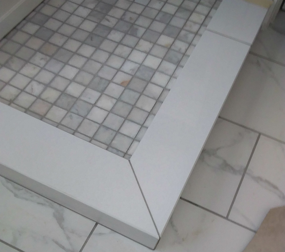 Solid Marble Shower Curb Mitred and Polished on Site