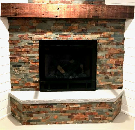 Rectified slate architectural stacked stone ledger