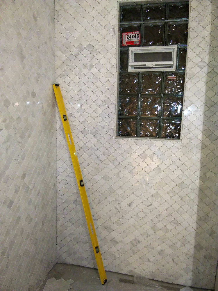 Walkers Point Carrara Marble Arabesque Shower